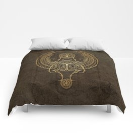 Stone Winged Egyptian Scarab Beetle with Ankh Comforters
