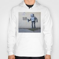 banksy Hoodies featuring Banksy Robot (Coney Island, NYC) by Limitless Design