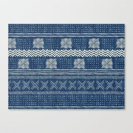 Mud Cloth Geometric Stripe Navy Canvas Print