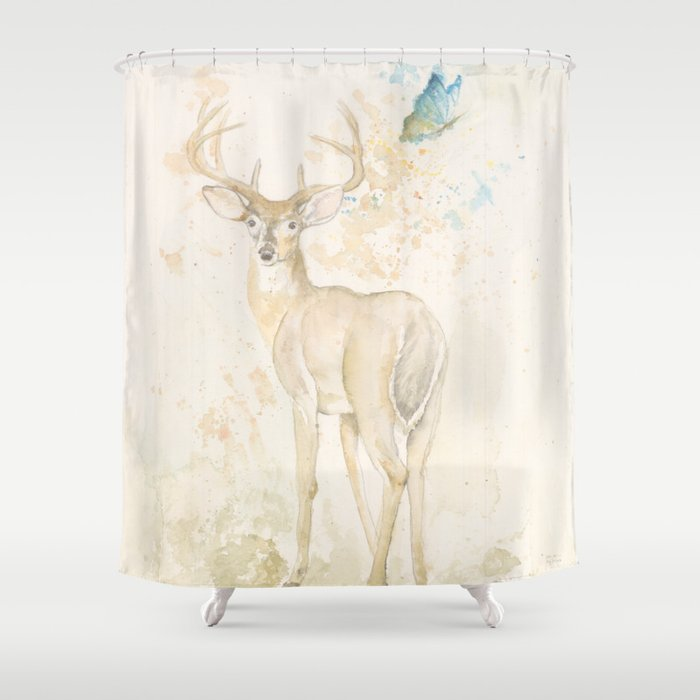 Deer and butterfly Shower Curtain