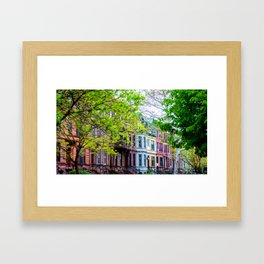 Brooklyn Rainbow Brownstones Framed Art Print