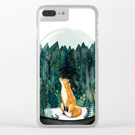 Snow Globe Fox Clear iPhone Case