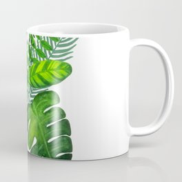 Tropical leaves and monstera in watercolor Coffee Mug