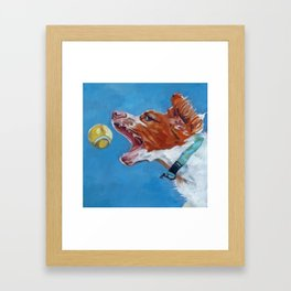 Brittany Spaniel Dog Portrait Framed Art Print