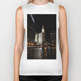 Wrigley Building and Chicago River at Night Color Photo Biker Tank