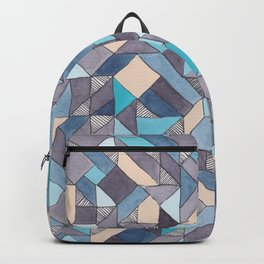 Shifitng Geometric Pattern in Blue Backpack