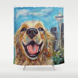 Golden Retriever in Seattle Shower Curtain