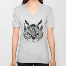 WILD CAT head. psychedelic / zentangle style Unisex V-Neck