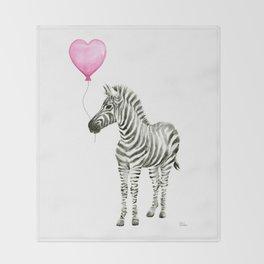 Zebra with Balloon Animal Watercolor Whimsical Animals Throw Blanket