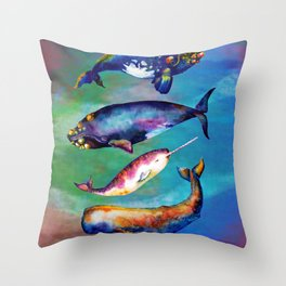 Whale Pyramid #3 - Watercolor Whales Throw Pillow