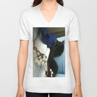 mercedes V-neck T-shirts featuring mercedes by jennifersupertramp