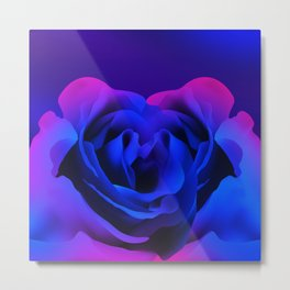 Blue Neon Rose Metal Print