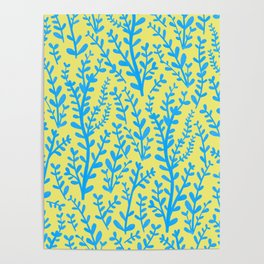 Yellow and Blue Floral Leaves Gouache Pattern Poster