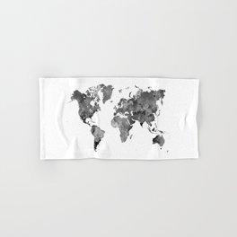 World map in watercolor gray Hand & Bath Towel