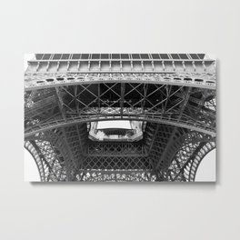 The Eiffeltower iron construction in black and white Metal Print