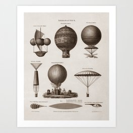 Early Balloon Designs - Vintage Aeronautics Art Print