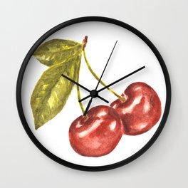 Cherry Watercolor Illustration Pattern Wall Clock