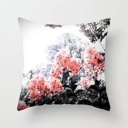 Living Coral Pink Peach & Gray Floral Throw Pillow