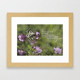 Gray Butterfly on Pink Framed Art Print