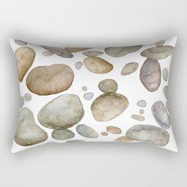 Watercolor River Rocks Rectangular Pillow