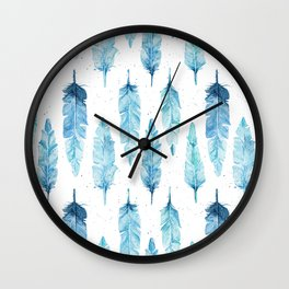 watercolor feathers Wall Clock