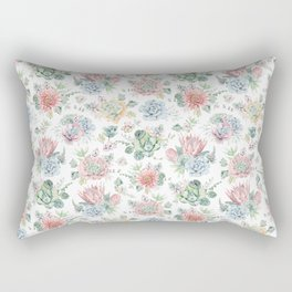 Watercolor Succulent Cactus Rectangular Pillow