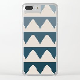 Geometric Pyramid Pattern - Blue Gradient Clear iPhone Case