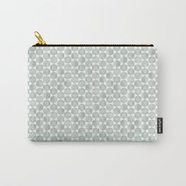 Gray Green and White Hexagonal Block Print Pattern Carry-All Pouch