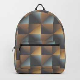 Industrial Urban Geometric Pattern in Burnished Gold & Steel Blue Backpack