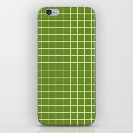 Olive Drab (#3) - green color - White Lines Grid Pattern iPhone Skin