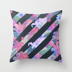 stripe flora Throw Pillow