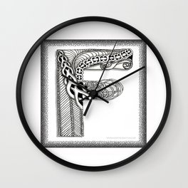 Zentangle F Monogram Alphabet Illustration Wall Clock