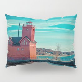 Holland Harbor Pierhead Light aka Big Red Lighthouse on Lake Michigan Pillow Sham