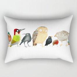 Woodland Bird Collection in white Rectangular Pillow