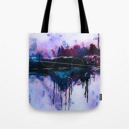 Dawn, pink and fushia black and blue acrylic abstract artwork Tote Bag