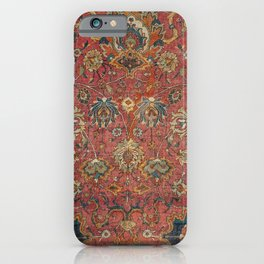 Persian Medallion Rug IV // 16th Century Distressed Red Green Blue Flowery Colorful Ornate Pattern iPhone Case