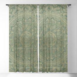 Mandala Royal - Green and Gold Sheer Curtain