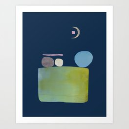 Abstract Geometric Modern Art Moon Gazers Art Print