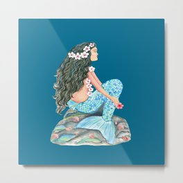 Mermaid on a rock with flowers and shells Metal Print