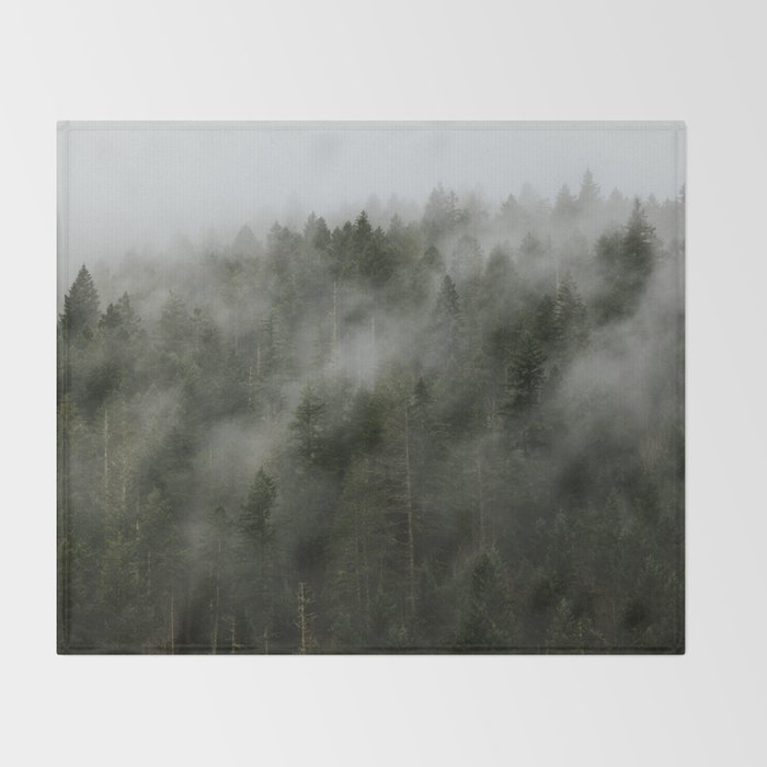 Pacific Northwest Foggy Forest Throw Blanket