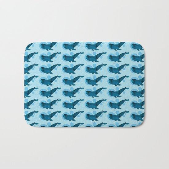 Blue bubble whale Bath Mat