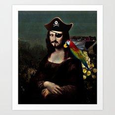 Mona Lisa Pirate Captain Art Print