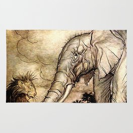 An Elephant and A Lion - Vintage Artwork Rug