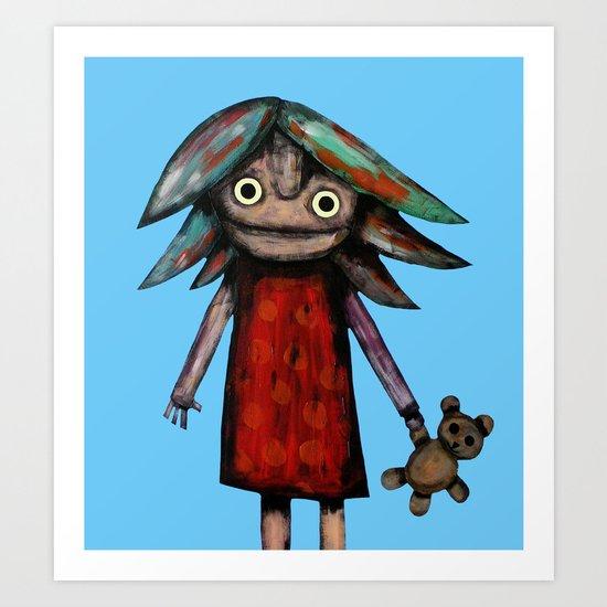 Girl vith teddy bear Art Print