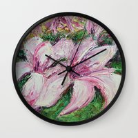 dc Wall Clocks featuring DC Magnolias by Ann Marie Coolick