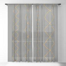 Moroccan Diamond Stripe in Grey Mustard Sheer Curtain