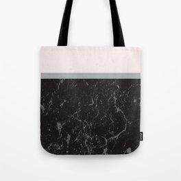 Grey Black Marble Meets Romantic Pink #1 #decor #art #society6 Tote Bag
