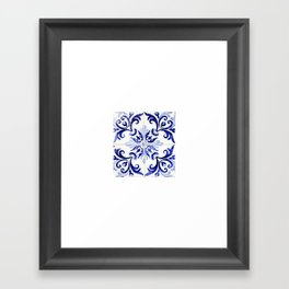 blue tile pattern VI - Azulejos, Portuguese tiles Framed Art Print