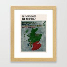 The Five Regions of Scotch Whisky (woodpress) Framed Art Print