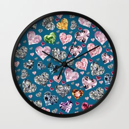 Heart Diamonds are Forever Love Blue Wall Clock